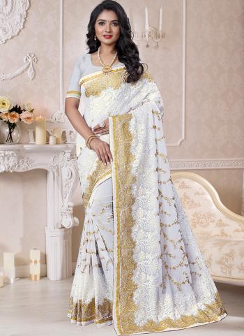 Traditional Wear White Resham Work Georgette Saree