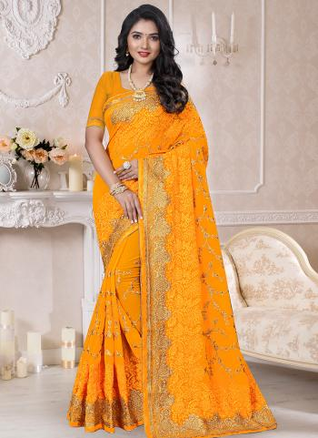 Traditional Wear Yellow Resham Work Georgette Saree