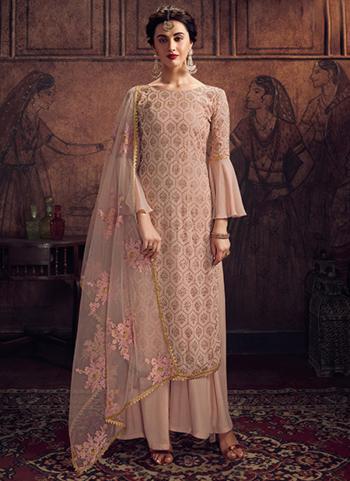 Festival Wear Pink Swarovski Work Rangoli Palazzo Suit