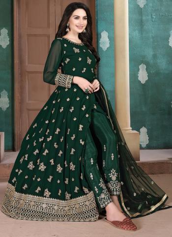 Party Wear Green Faux Georgette Embroidery Work Anarkali Suit