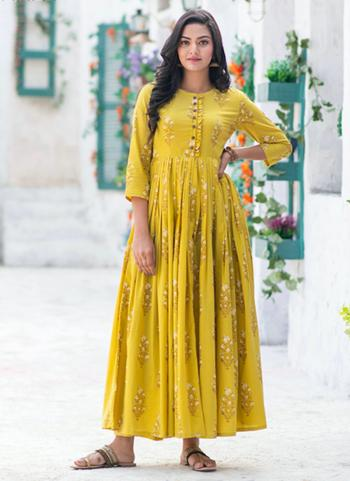 Casual Wear Yellow Printed Work Pure Muslin Gown