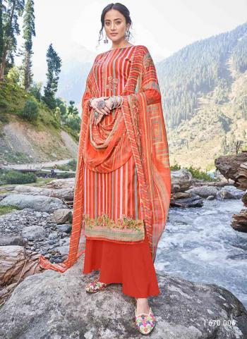 Casual Wear Orange Digital Print Pashmina Silk Palazzo Suit
