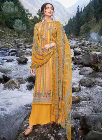 Casual Wear Yellow Digital Print Pashmina Silk Palazzo Suit