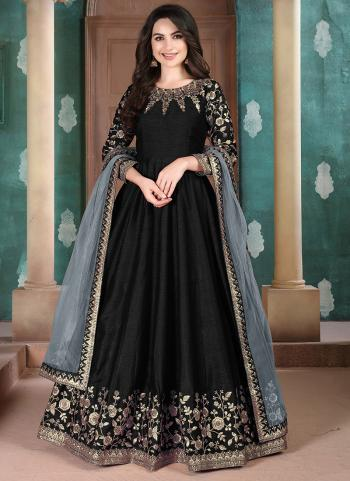 Festival Wear Black Embroidery Work Silk Anarkali Suit
