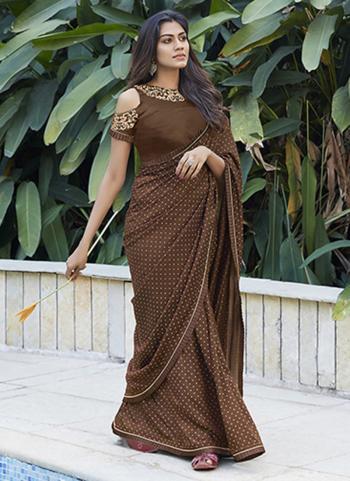 Casual Wear Brown Printed Work Cotton Saree