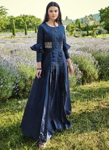 Festival Wear Navy Blue Embroidery Work Cotton Silk Gown