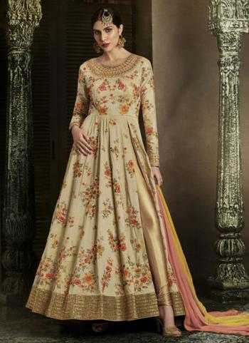 Reception Wear Cream Heavy Embroidery Work Handloom Silk Salwar Suit
