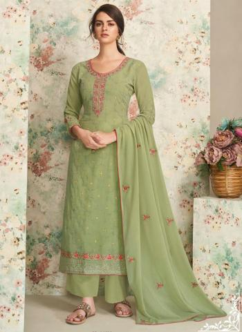 Party Wear Light Green Embroidery Work Real Georgette Palazzo Suit