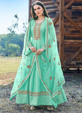 Festival Wear Pista Green Embroidery Work Dola Silk Anarkali Suit
