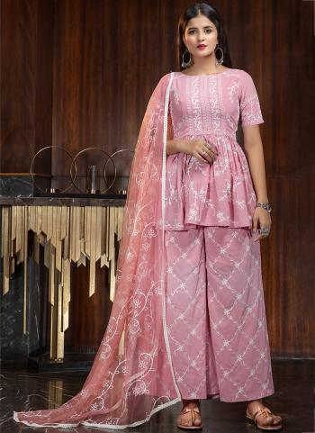 Party Wear Pink Diamond Work Georgette Palazzo Suit