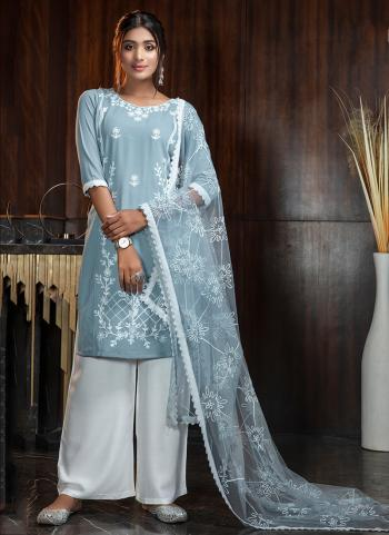 Party Wear Sky Blue Diamond Work Georgette Palazzo Suit