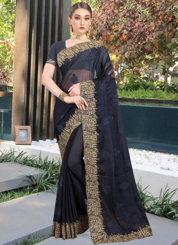 Festival Wear Black Resham Work Chiffon Saree