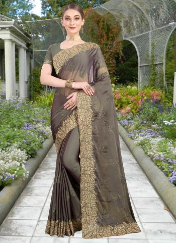 Festival Wear Grey Resham Work Chiffon Saree