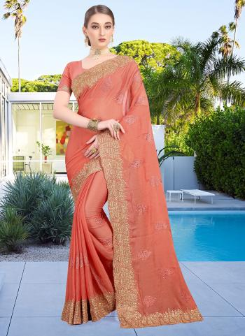 Festival Wear Peach Resham Work Chiffon Saree