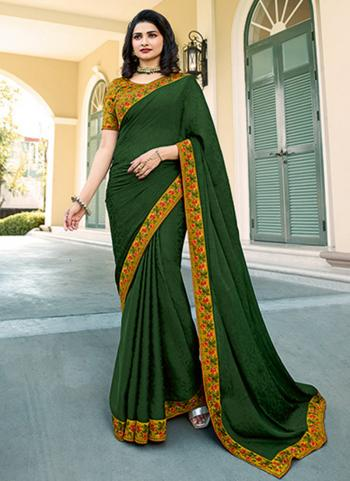 Casual Wear Green Lace Work Fancy Saree