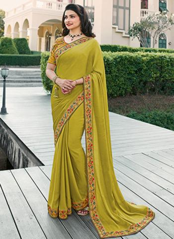 Casual Wear Light Green Lace Work Fancy Saree