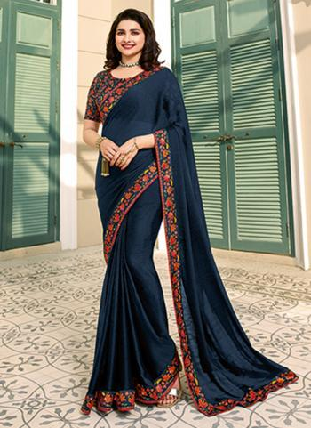 Casual Wear Navy Blue Lace Work Fancy Saree