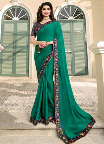 Casual Wear Olive Green Lace Work Fancy Saree