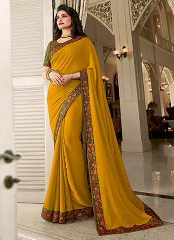 Casual Wear Yellow Lace Work Fancy Saree