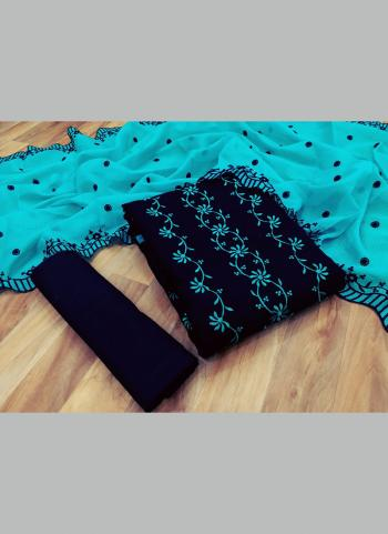 Casual Wear Sky Blue Multi Work Kota Chex Salwar Suit
