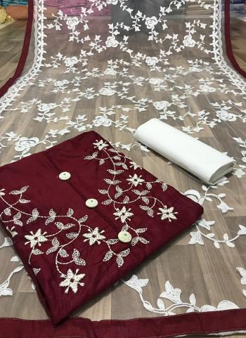 Casual Wear Maroon Fancy Embroidery Work Glace Cotton Salwar Suit