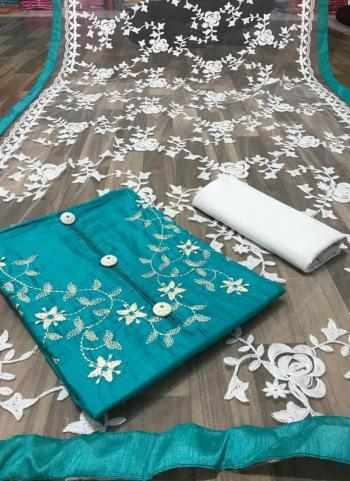 Casual Wear Sky Blue Embroidery Work Glace Cotton Salwar Suit