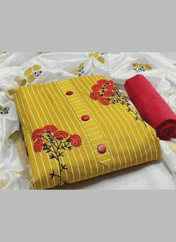 Daily Wear Yellow Printed PC Cotton Salwar Suit