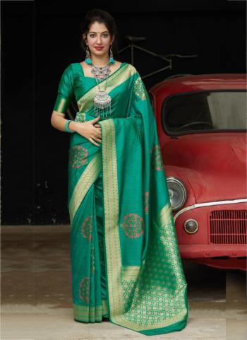 Wedding Wear Dark Green Weaving Silk Heavy Saree