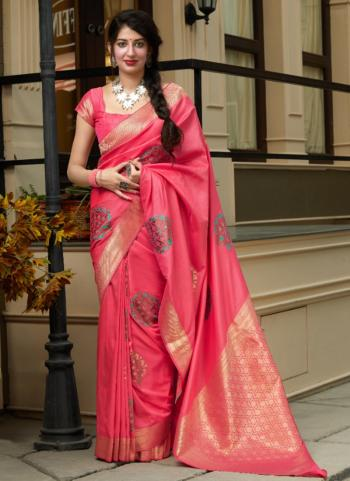 Wedding Wear Pink Weaving Silk Heavy Saree