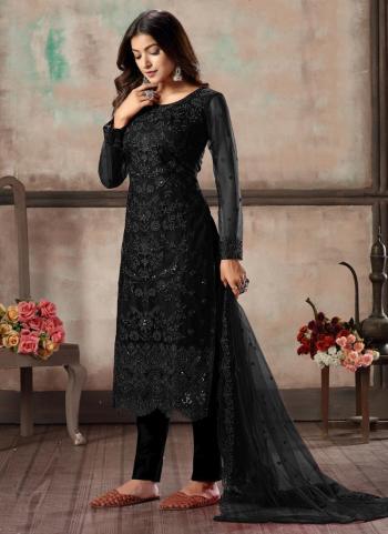 Festival Wear Black Sequins Work Net Churidar Suit