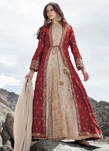 Reception Wear Red Heavy Embroidery Work Silk Anarkali Suit