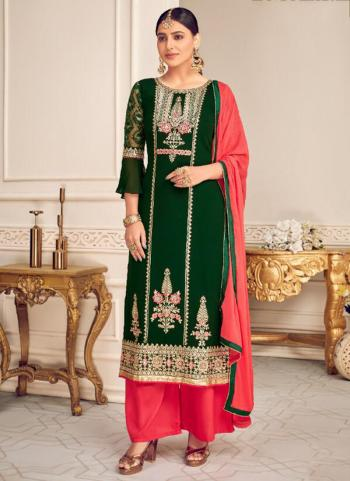 Festival Wear Green Embroidery Work Viscose Georgette Palazzo Suit