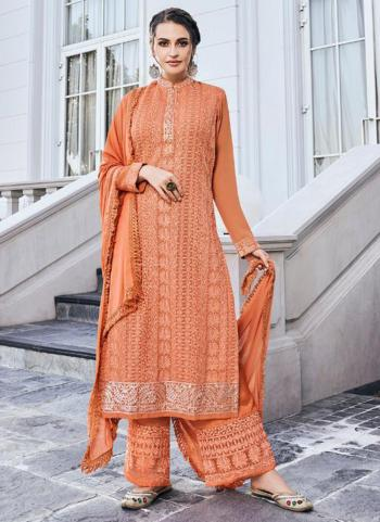 Party Wear Peach Embroidery Work Georgette Readymade Palazzo Suit