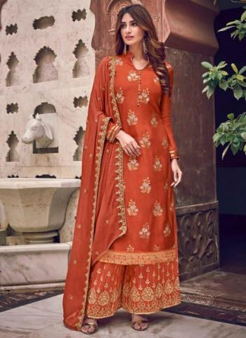 Wedding Wear Orange Embroidery Work Pure Dola Jacquard Palazzo Suit
