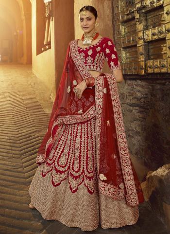 Bridal Wear Red Zarkan Work Pure Velvet Lehenga Choli