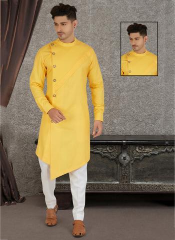 Traditional Wear Yellow Hand Stitched Pure Cotton Kurta