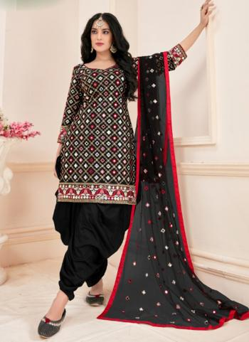 Festival Wear Black Mirror Work Jam Cotton Readymade Patiala Suit