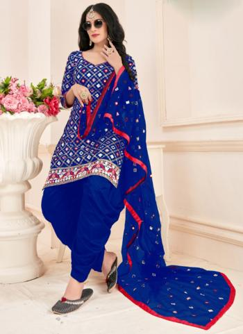 Festival Wear Blue Mirror Work Jam Cotton Readymade Patiala Suit