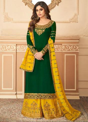 Party Wear Green Embroidery Work Satin Silk Palazzo Suit