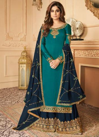 Party Wear Sky Blue Embroidery Work Silk Satin Palazzo Suit