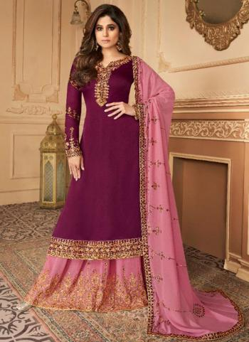 Party Wear Violet Embroidery Work Silk Satin Palazzo Suit