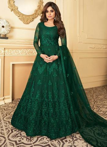 Wedding Wear Dark Green Heavy Embroidery Work Net Anarkali Suit