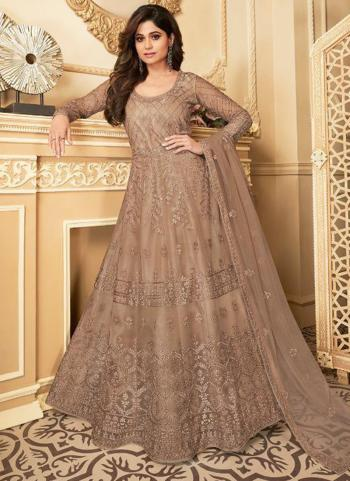 Wedding Wear Light Brown Heavy Embroidery Work Net Anarkali Suit