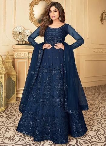 Wedding Wear Navy Blue Heavy Embroidery Work Net Anarkali Suit