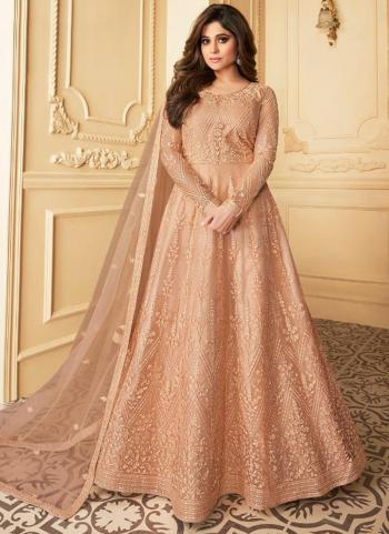 Wedding Wear Peach Heavy Embroidery Work Net Anarkali Suit