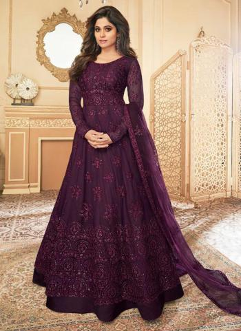 Wedding Wear Wine Heavy Embroidery Work Net Anarkali Suit