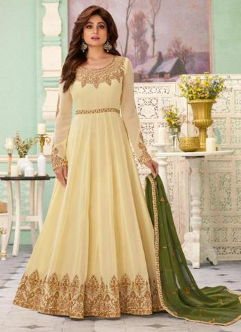 Reception Wear Cream Heavy Embroidery Work Georgette Anarkali Suit