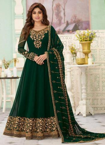 Reception Wear Dark Green Heavy Embroidery Work Georgette Anarkali Suit