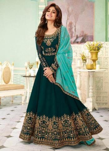 Reception Wear Rama Green Heavy Embroidery Work Georgette Anarkali Suit