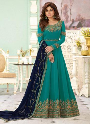 Reception Wear Sky Blue Heavy Embroidery Work Georgette Anarkali Suit